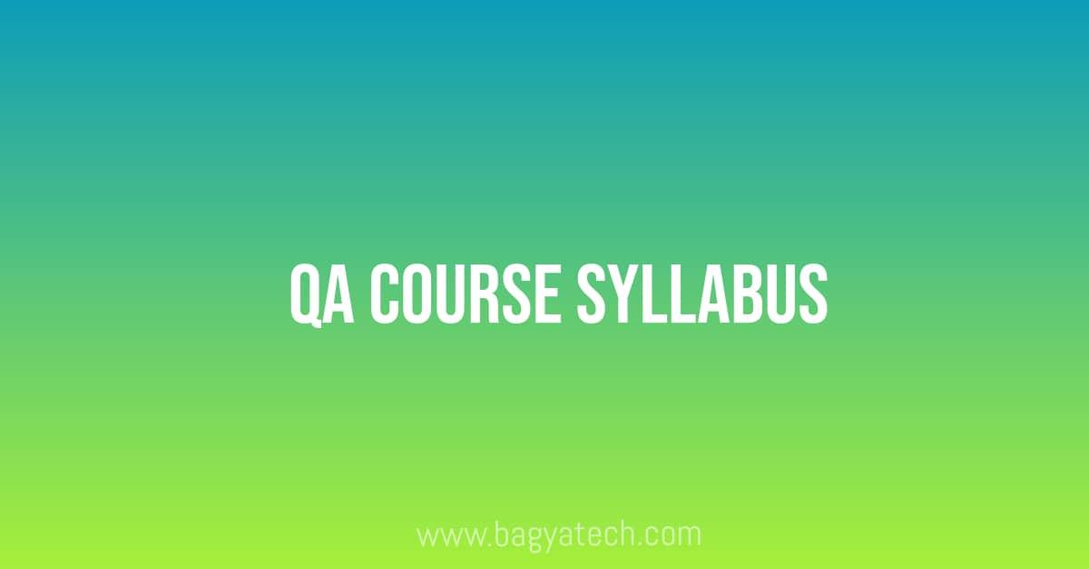 QA Course Syllabus